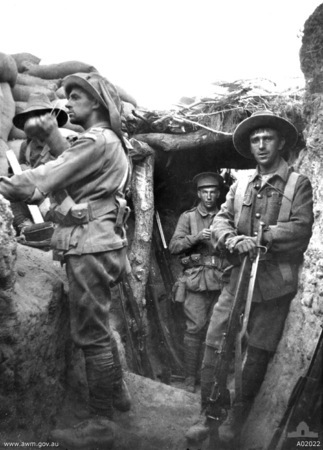 Australian troops in the Turkish Lone Pine trenches
