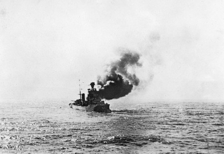 At sea off Crete in the Mediterranean, 19 July 1940: Italian cruiser Bartolomeo Colleoni under attack from HMAS Sydney near Cape Spada.