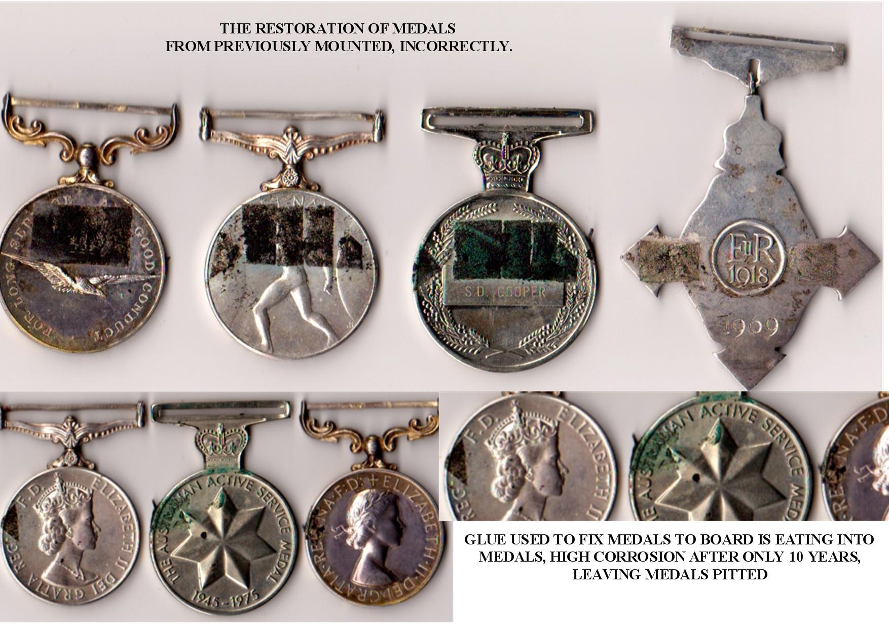 Medals before restoration