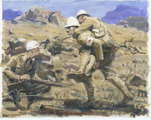 The incident for which Captain Howse was awarded the VC in Vredefort, July 1900 - painting by William Dargie
